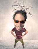 Persona de gran cabeza con martillos dibujados — Foto de Stock