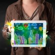 Young person showing tablet with hand drawn cityscape — Stock Photo #70868085