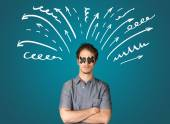 Young man with glued eye and lines, arrows — Stock Photo