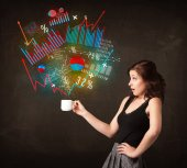 Businesswoman holding a white cup with diagrams and graphs — Stock Photo