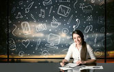 Businesswoman with social media symbols — Stock Photo