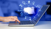 Hand working with a Cloud Computing diagram — Stock Photo