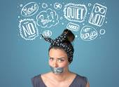 Young woman with glued mouth and thought clouds — Stock Photo