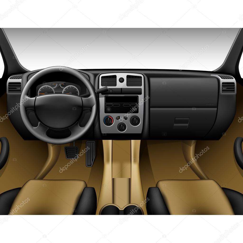 Beige lederen auto interieur binnen mening van truck for Interieur auto