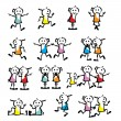 A set of collection of children stick figure — Stock Vector #61437977