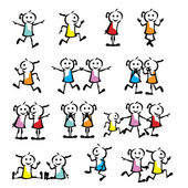 A set of collection of children stick figure — Vector de stock