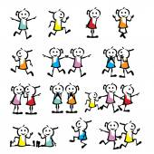 A set of collection of children stick figure — Stock Vector