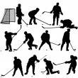 Set of silhouettes of hockey player. Isolated on white. — Stock Vector #52941279