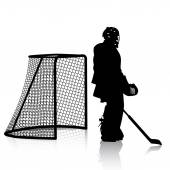 Silhouettes of hockey player. Isolated on white. — Stock Vector