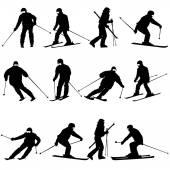 Mountain skier  man speeding down slope. — Stock Vector