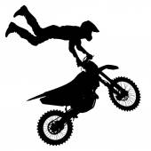 Black silhouettes Motocross rider on a motorcycle. — Stock Vector