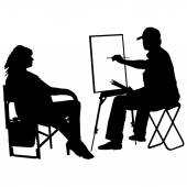 Silhouette, artist at work on a white background — Stock Vector