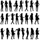 黑色的轮廓,美丽的男人和女人 — 图库矢量图片