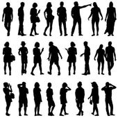 Black silhouettes of beautiful mans and womans — Stock Vector