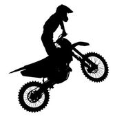Black silhouettes Motocross rider on a motorcycle. Vector illust — ストックベクタ