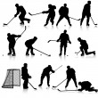Set of silhouettes of hockey player. Isolated on white. illustra — Stock Vector #53336603