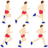 Runners on sprint, men. — Stock Vector