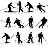 Mountain skier  man speeding down slope. Vector sport silhouette — Stock Vector