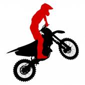 Black silhouettes Motocross rider on a motorcycle. Vector illust — Stock Vector