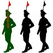 Silhouette soldiers during a military parade. Vector illustratio — Stock Vector