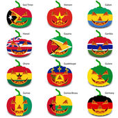 Set pumpkins for Halloween as a flags of the world. Vector illus — Stock Vector