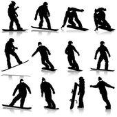 черные силуэты набор сноубордистов на белом фоне. вектор i — Cтоковый вектор