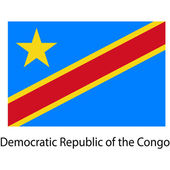 Flag  of the country  democratic republic congo. Vector illustra — Stock Vector