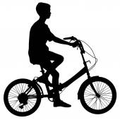 Silhouette of a cyclist male.  vector illustration. — Vettoriale Stock