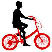 自転車男性のシルエット。ベクトル イラスト. — ストックベクタ