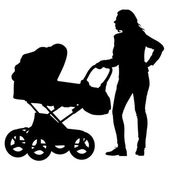 Silhouettes  walkings mothers with baby strollers. Vector illust — Stock Vector