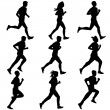 Set of silhouettes. Runners on sprint, men. vector illustration. — Stock Vector #59684197