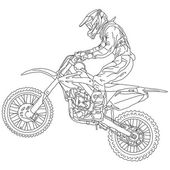 Silhouettes Motocross rider on a motorcycle. Vector illustration — Vecteur