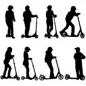 Set of silhouettes of children riding on scooters. Vector illust — Stockvektor