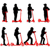 Set of silhouettes of children riding on scooters. Vector illust — Stock Vector