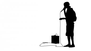 Silhouette of the guy  beatbox with a microphone. White screen background.  animation. — Stock Video