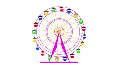 Colorful ferris wheel on a white background.  animation. — Stock Video