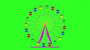 Colorful ferris wheel on a green screen  background.  animation. — Stock Video