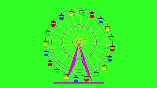 Noria de colores sobre un fondo de pantalla verde. animación. — Vídeo de stock