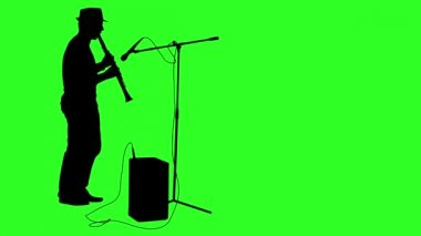 Silhouette musician plays the clarinet. Green screen footage.  animation. — Stock Video