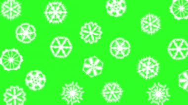 Christmas different sort of snowflakes, effect snowfall on a green screen background. animation. — Stockvideo
