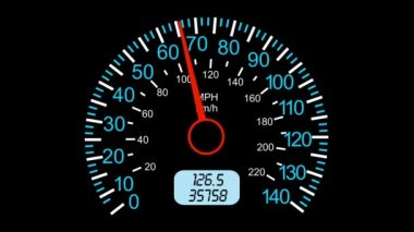Speedometer sports car, start acceleration and braking. black screen background.  animation. — Stock Video