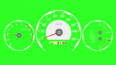 Speedometer sports car, start acceleration and braking. Green screen background.  animation. — Стоковое видео