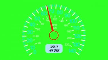 Car speedometer and moving pointer, on a green screen  background.  animation. — Stock Video