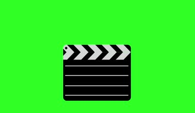 Movie clapper board  Illustration. Green screen background.  animation. — Stock Video