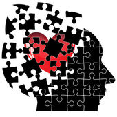 Jigsaw Puzzle head man with a heart shatters into pieces. Vector — Stock Vector