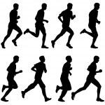 Set of silhouettes. Runners on sprint, men. vector illustration. — Stock Vector #65811913