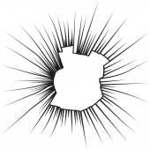 Radial cracks on broken white glass. Vector illustration. — 图库矢量图片