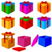 Collection of colorful box christmas gifts with ribbons. Vector — Vettoriale Stock