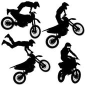 Set silhouettes Motocross rider on a motorcycle. Vector illustra — Stock Vector