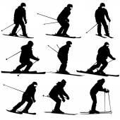 Mountain skier   men and woman speeding down slope. Vector sport — Stock Vector